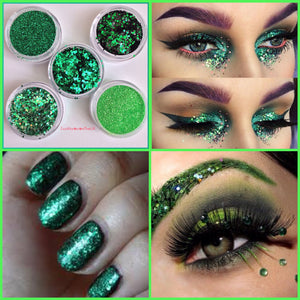 chunky glitter Bulk glitter supplier cosmetic makeup beauty blogger beautician beauty salon nail salon st Patrick's day Mother's Day green glitter nail glitter eye glitter eyes lips uk suppliers Loose glitter vegan friendly biodegradable