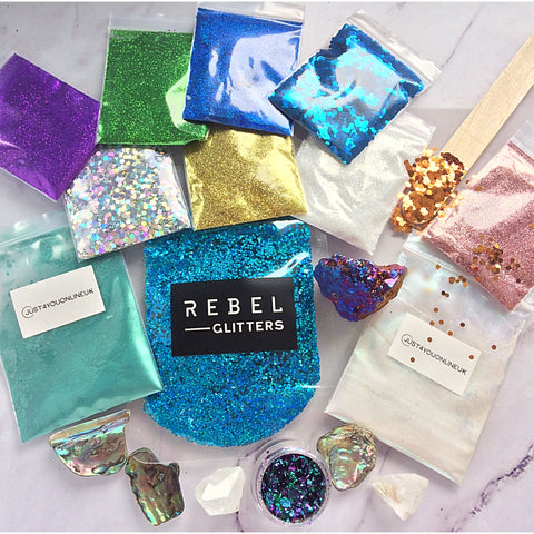 Blue silver gold white purple green teal glitter shells crystals pigments