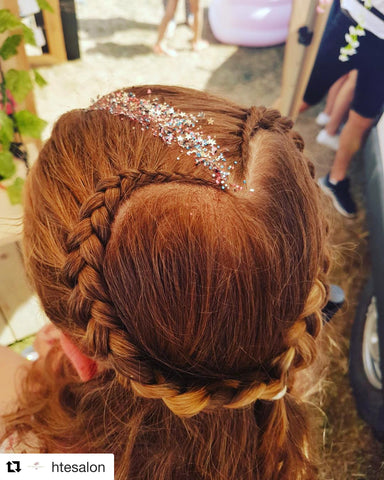 hair glitter biodegradable Bio braid platt heart love summer festival fashion curls design salon Mua sparkle bar long short hairstyles