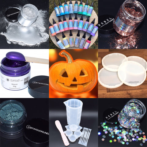 Halloween discount code resin art epoxy glitter pigment silicone moulds molds U.K. art supplies U.K.