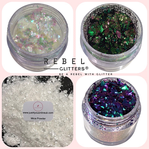 Rebel Glitters Glitter Opal Flakes green White Purple Mica Powder Discount code USA Canada U.K. shipping worldwide