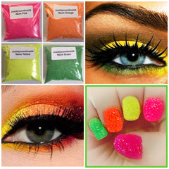 Neon pink orange green yellow fest festival festivals makeup neons fashion Loose Cosmetic Bulk Glitter uk supplier salon nails nail artist nail art craft candles wine glass heat solvent resistant glitter makeup eye shadow lips hair Friday night vibes dancing night out fun