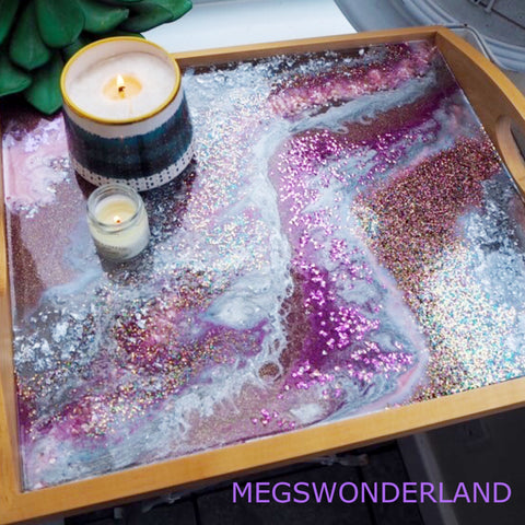 Resin art serving tray home decor