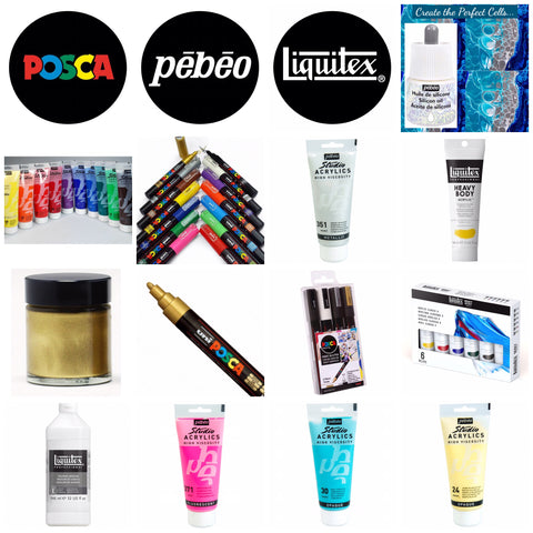 Art supplies acrylic paints gilding paint Posca pens new products Just4youonlineUK