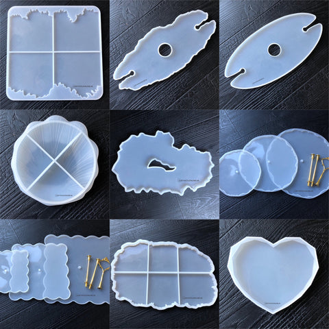 Resin silicone moulds putty mat mats art boards cheese cutting board chopping clock work ink artwork cake stand wine and glass holder bookmark heart handles tray agate coaster