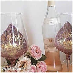 Glitter Wine Glass Decoration Glitter Glasses Glitter craft for home decor glitter craft ideas rose gold glitter wine glass