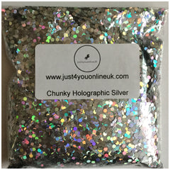 Extra Chunky Holographic Silver glitter powder bulk wholesale makeup beauty