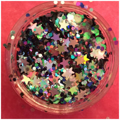 Mermaid sparkle glitter makeup Eyeshadow nails silver stars