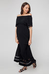 Ripe Maternity Cold Shoulder Maxi Dress - Black