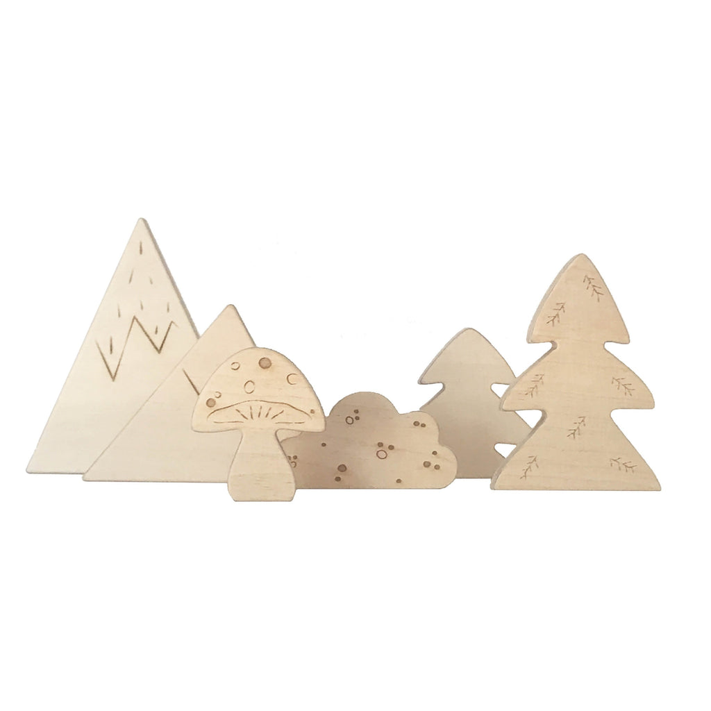 Wooden Forrest - Package with 3 packs (6 wooden pcs in each)