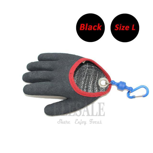 1 Pcs Portable Fishing Gloves With Magnets Hook For Catching Fishing Anti-Slip-Gloves-Bargain Bait Box-Black L-Bargain Bait Box