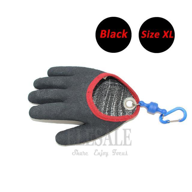 1 Pcs Portable Fishing Gloves With Magnets Hook For Catching Fishing Anti-Slip-Gloves-Bargain Bait Box-Black XL-Bargain Bait Box