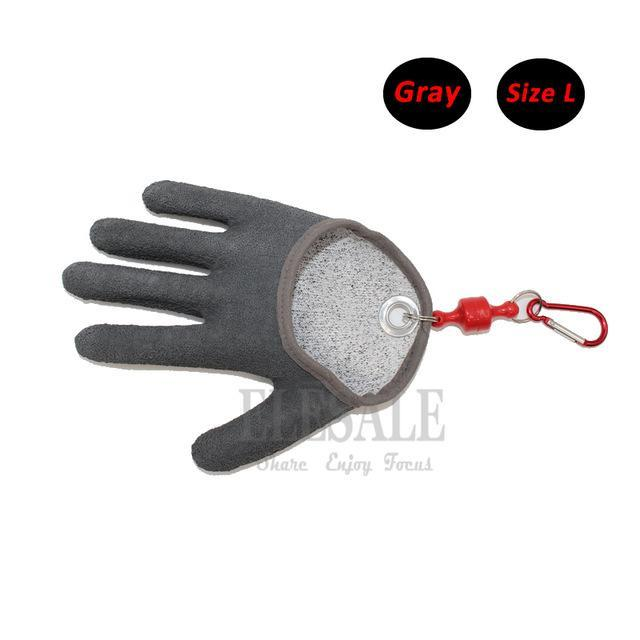 1 Pcs Portable Fishing Gloves With Magnets Hook For Catching Fishing Anti-Slip-Gloves-Bargain Bait Box-Gray L-Bargain Bait Box