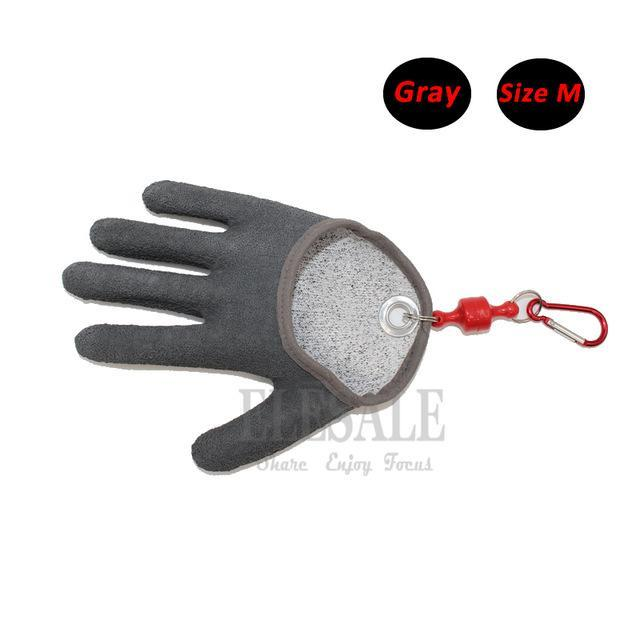 1 Pcs Portable Fishing Gloves With Magnets Hook For Catching Fishing Anti-Slip-Gloves-Bargain Bait Box-Gray M-Bargain Bait Box