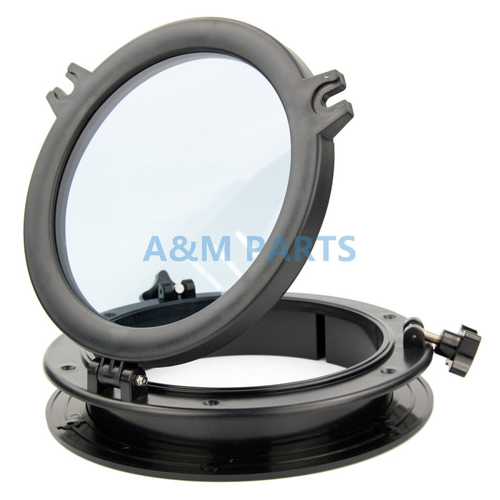 10'' Marine Boat Rv Porthole Plastic Round Hatches Port Lights Windows Black-Boat Accessories-Bargain Bait Box-China-Bargain Bait Box