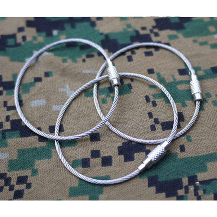 10 Pcs 15Cm Edc Gear Stainless Steel Wire Keychain Ring Key Metal Circle Rope-Super Online Technology Co., Ltd-Bargain Bait Box
