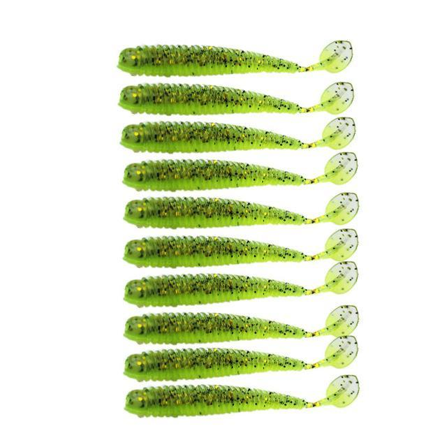 10 Pcs/Lot Paddle Tail 5.7Cm 0.85G Soft Grubs Glow In Dark T Tail Jig Soft For-Unrigged Plastic Swimbaits-Bargain Bait Box-F-Bargain Bait Box