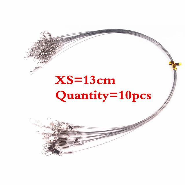 10 Pieces Stainless Steel Fishing Lead Line Fishing Lure Bite Proof Swivel Steel-Wolves Store-XS 13cm-Bargain Bait Box