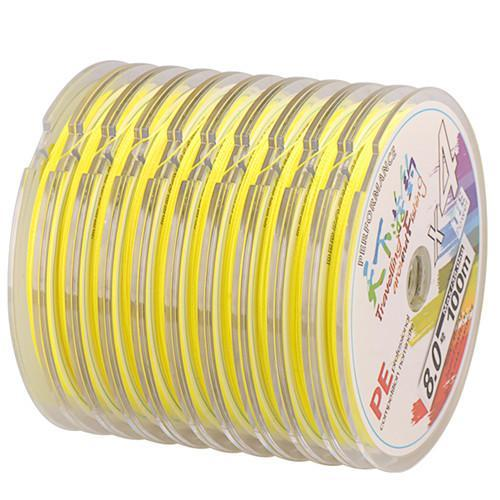 100-1000M Any Length 4 Braid Pe Fishing Line 4-38Kg Linha Pesca Multifilamento-SmartLure Store-Yellow-0.8-Bargain Bait Box