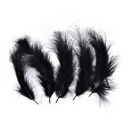 100 Pcs Multi-Color Turkey Marabou Bugger Feather For Fly Tying Material Lure-Fly Tying Materials-Bargain Bait Box-Black-Bargain Bait Box