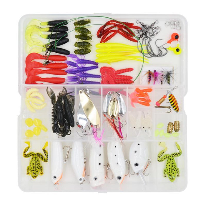 100 Pcs/Box Fishing Soft Worm Metal Spinner Spoon Night Fishing Fishhooks-Mixed Combos & Kits-Bargain Bait Box-Bargain Bait Box