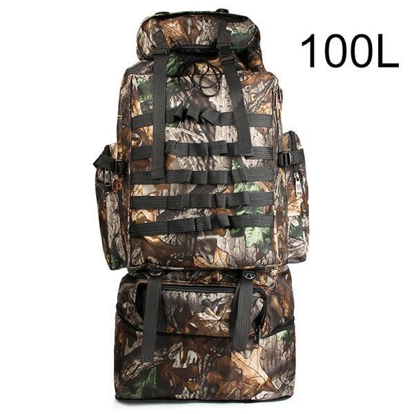 100L Military Backpack Molle Camping Bag Rucksack Tactical Backpack Men Large-Climbing Bags-Vanchic Outdoor Store-Leaf Camouflage 100L-Bargain Bait Box
