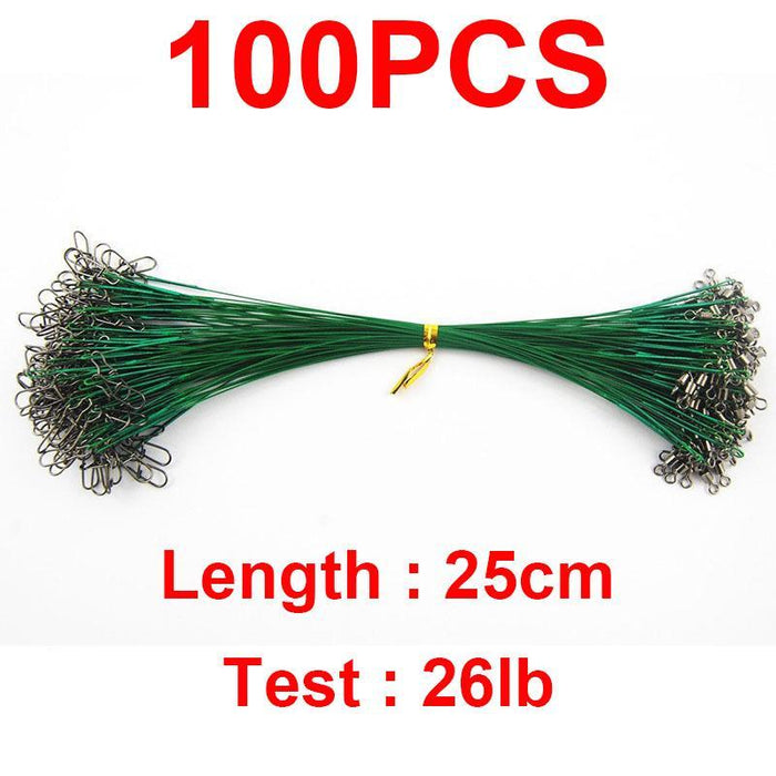 100Pcs 25Cm Nylon Coated Fishing Wire Leader Stainless Steel Braided Trace-Easycatch-fishing tackle Store-1X7 Strands-Bargain Bait Box