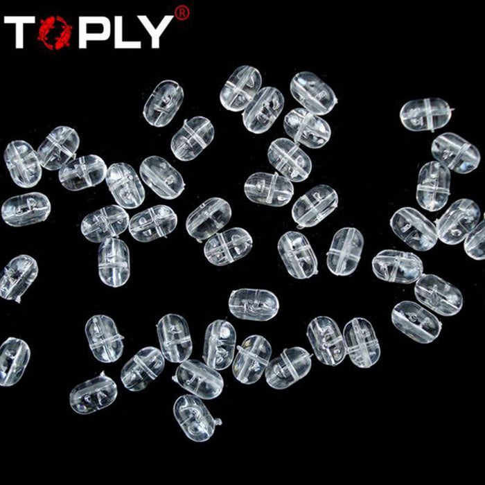 100Pcs 5*8Mm Fishing Plastic Transparent Clear Oval Beads Double Pearl Drill-Fishing Beads-Bargain Bait Box-Bargain Bait Box