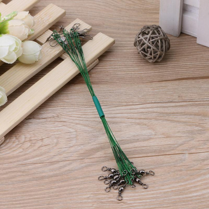100Pcs Fishing Line For Lead Steel Wire Fishing Cord Rope Fishing Leader Trace-Dreamland 123-Green-Bargain Bait Box