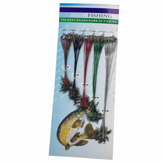 100Pcs Fishing Wire Leader Stainless Steel Nylon-Coated Red Black Green Silver-QualyQualy Official Store-Bargain Bait Box