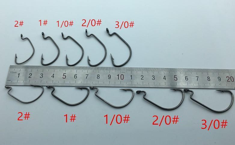 100Pcs/Box High Carbon Steel Fishing Hooks Crank Lead Sharp Worm Hooks 2# 1#-Rompin Fishing Tackle Store-Bargain Bait Box