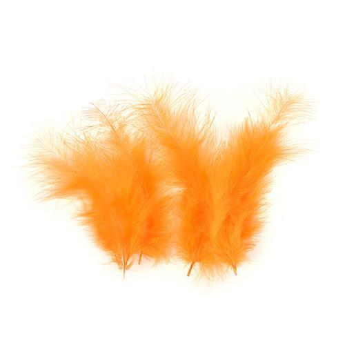 100Pcs/Lot Multi-Color Turkey Marabou Bugger Feather For Fly Tying Material Lure-Fly Tying Materials-Bargain Bait Box-Orange-Bargain Bait Box