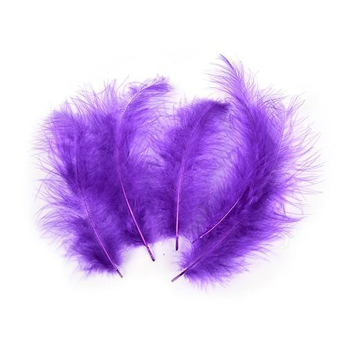 100Pcs/Lot Multi-Color Turkey Marabou Bugger Feather For Fly Tying Material Lure-Fly Tying Materials-Bargain Bait Box-Purple-Bargain Bait Box