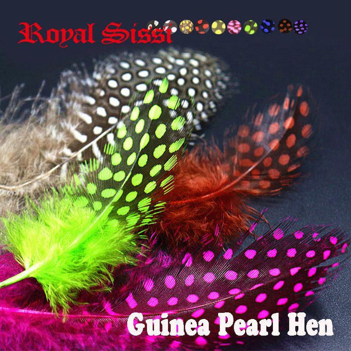 100Pcs/Lot S Combo Guinea Pearl Hen Feather Hackle Fly Tying Material 10Colors-Fly Tying Materials-Bargain Bait Box-5 bright colors-Bargain Bait Box