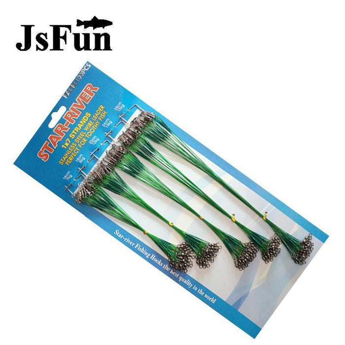 100Pcs/Pack 16-28Cm Steel Wire Leader Fishing Line With Swivel Snap Fishing-JSFUN Official Store-Bargain Bait Box