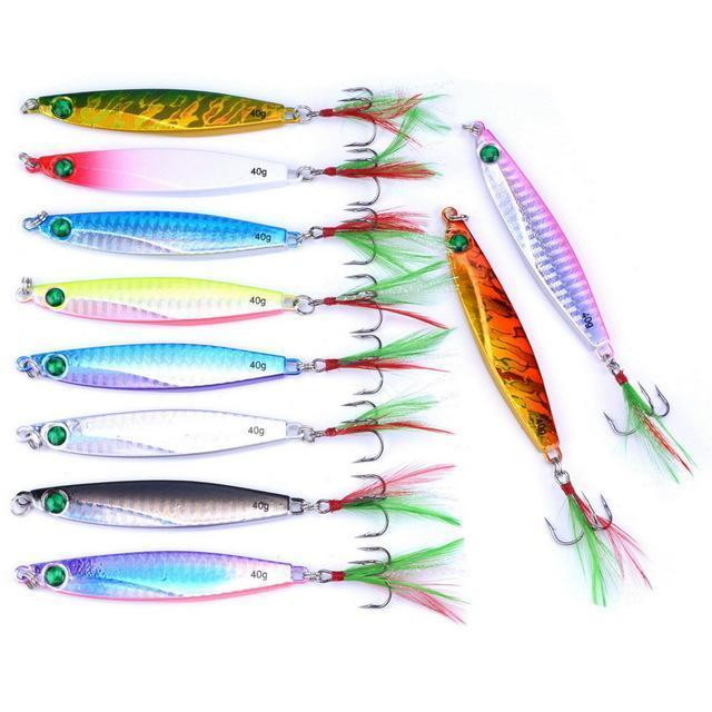 10Pcs 7G/21G/28G/40G Metal Jigging Lure With Red/Green Feather Hooks Fishing-Xiamen Smith Industry Co,. Ltd-40g FS0651ZH-Bargain Bait Box