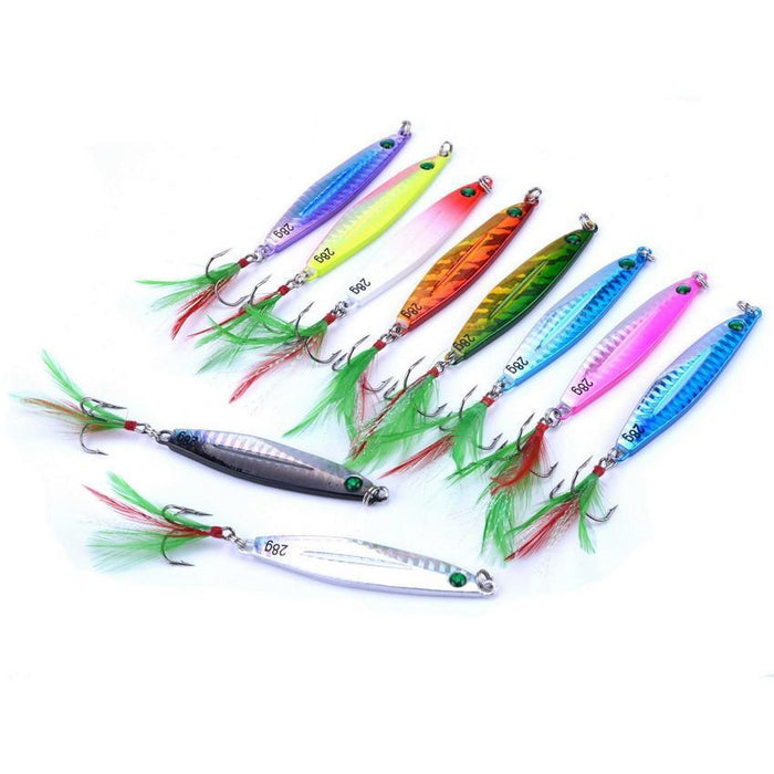 10Pcs 7G/21G/28G/40G Metal Jigging Lure With Red/Green Feather Hooks Fishing-Xiamen Smith Industry Co,. Ltd-7g FS0648ZH-Bargain Bait Box