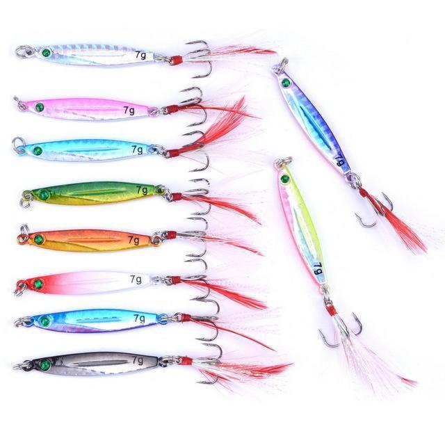10Pcs 7G/21G/28G/40G Metal Jigging Lure With Red/Green Feather Hooks Fishing-Xiamen Smith Industry Co,. Ltd-7g FS0652ZH-Bargain Bait Box