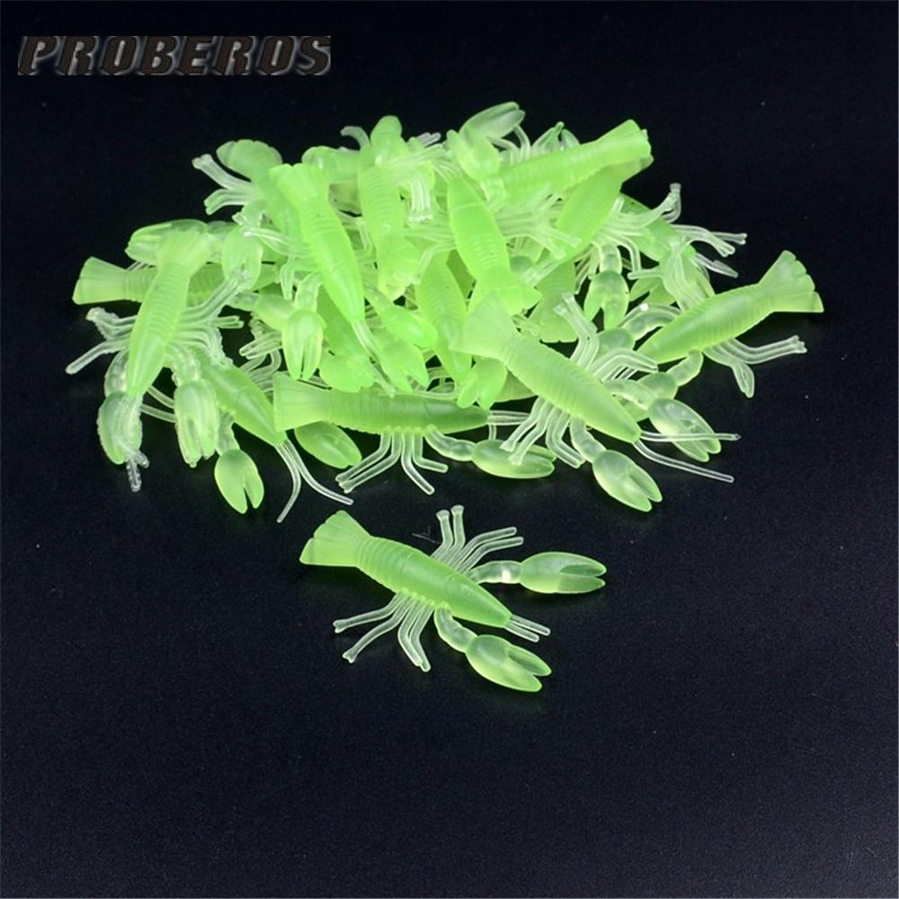 10Pcs Artificial Soft Bait Fluorescent Green Crayfish Worms Lifelike Fishy Small-China Fishing knight Store-Bargain Bait Box