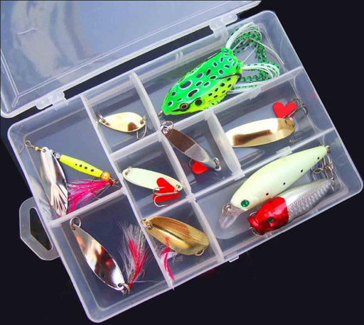 10Pcs Fishing Fish Mix Lure Spoon Minnow Popper Frog Lure Plastic Box-Mixed Combos & Kits-Bargain Bait Box-Bargain Bait Box