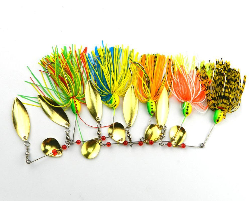10Pcs Fishing Spinnerbait Lures Metal Spoon Lure 16.3G Skirt Jig Spinner Beard-Spinnerbaits-Bargain Bait Box-Bargain Bait Box