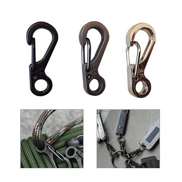 10Pcs Mini Sf Climbing Carabiner Spring Buckle Multifunctional Edc Carabiner-Outdoor Tools-HMJ Outdoor Store-Silver-Bargain Bait Box