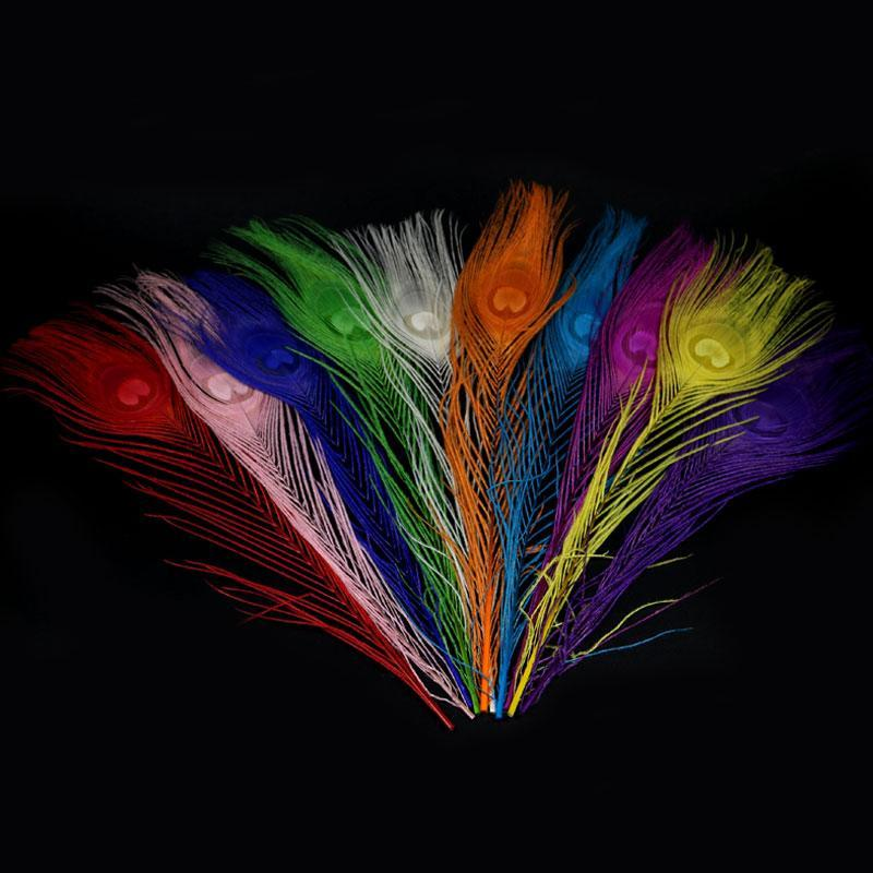 10Pcs Multicolor Peacock Feathers For Fly Tying Nymphs Wet Flies Fishing-Fly Tying Materials-Bargain Bait Box-Rose red 10PCS-Bargain Bait Box