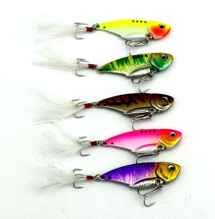 10Pcs Vib Metal Lure 5.5Cm 11G Hooks Fishing Hard Metal Swimbait-Blade Baits-Bargain Bait Box-Bargain Bait Box