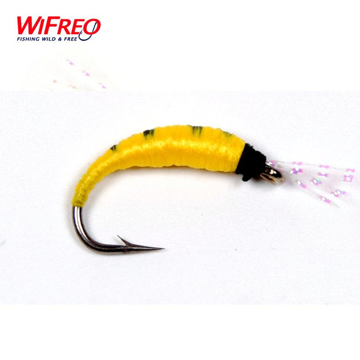 [10Pcs] Wifreo Size 6 Yellow Pupa Larva Nymph Fly For Bass Fishing-Flies-Bargain Bait Box-Bargain Bait Box