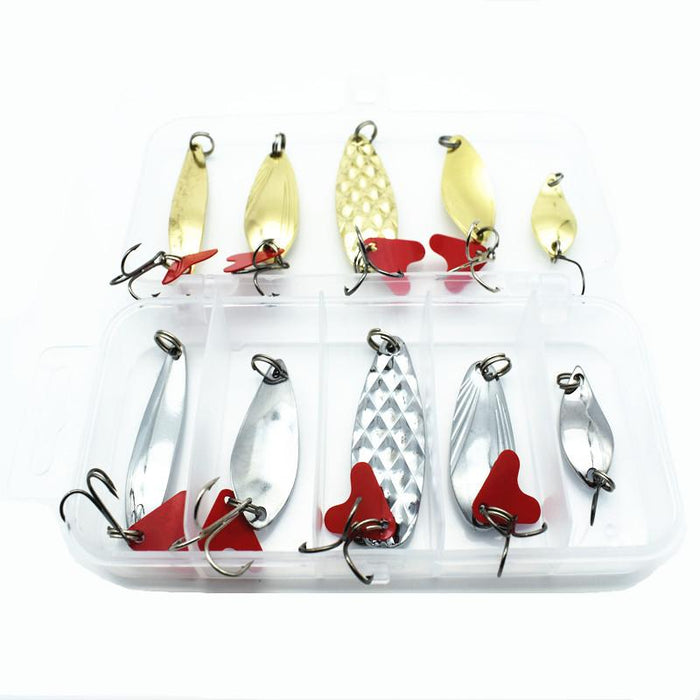 10Pcs/Box S Spoon Bait Metal Lure Kit Hard Geer-Hard Bait Kits-Bargain Bait Box-Bargain Bait Box