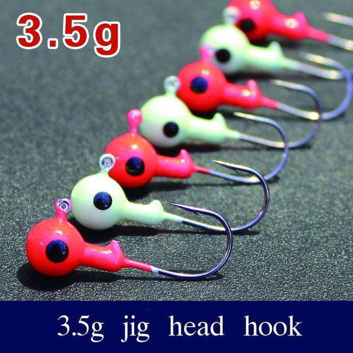 10Pcs/Lot 3.5G Sharped Round Lead Jig Head Hook Fishing Tackle Fishhooks Red And-Roundhead & Specialty Jigs-Bargain Bait Box-Luminous 10pcs-Bargain Bait Box