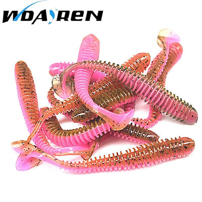 10Pcs/Lot 5.5Cm 0.8G Soft Bait Worm Swimbaits Fishing 8 Color Silicone T Tail-Unrigged Plastic Swimbaits-Bargain Bait Box-A-Bargain Bait Box