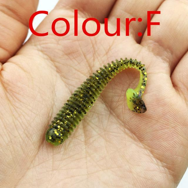 10Pcs/Lot 5.5Cm 0.8G Soft Bait Worm Swimbaits Fishing 8 Color Silicone T Tail-Unrigged Plastic Swimbaits-Bargain Bait Box-F-Bargain Bait Box