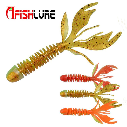 10Pcs/Lot Double Colors Screw Leaves Tail Soft Worm 80Mm 2.3G Fishing Silicon-Creatures-Bargain Bait Box-Bargain Bait Box